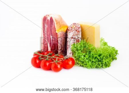 Authentic Italian Prosciutto Dry-cured And Cheddar Cheese On White Isolated Background. Close-up