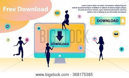 Free Download Concept. Characters Silhouettes Around Of Huge Computer Transfering And Sharing Files,