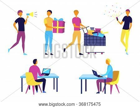 Concept Of Self Employed People. Characters Do Shopping, Give Presents, Work And Having Fun. Collect