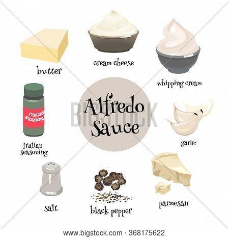 Set Of Italian Alfredo Sause Ingredients. Butter, Garlic, Whipping Cream, Cream Cheese, Parmesan, It