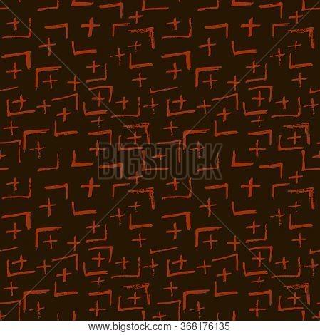 Tie Dye Japanese Geometric Autumn Seamless Pattern. Boho Tie Dye Ikat Batik. Scribble Cartoon Doodle