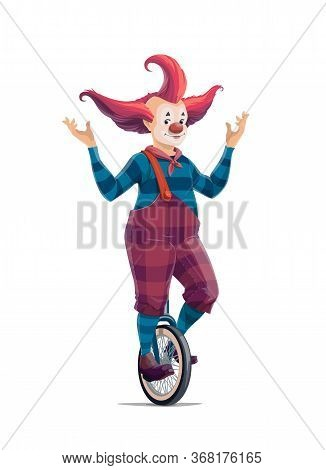 Big Top Circus Cartoon Clown On Monocycle Isolated Vector Icon. Smiling Joker With Crazy Hairstyle I