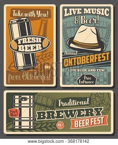 Beer And Brewery, Oktoberfest Craft Beer Fest Celebration. Bavarian Hat, Wooden Cup And Barrel, Malt