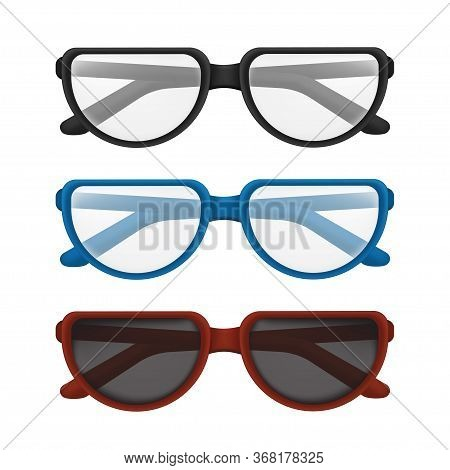 Folded Glasses Set With Colorful Frames - Black, Blue, Red. Vector Illustration Of Elegant Classic E