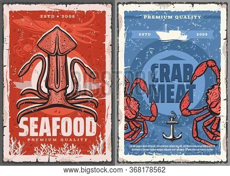 Seafood Squid And Crab Meat Vector Retro Posters. Fishing And Fish Gourmet Restaurant, Ocean And Sea