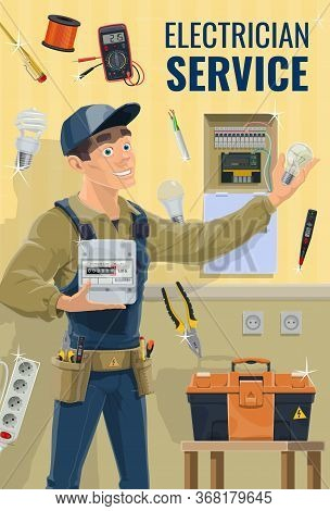 Electrician With Equipment And Work Tools, Vector. Electrician Or Lineman In Uniform Hold Electricit