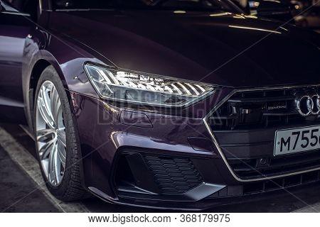 Moscow. Russia - January 16, 2020: Audi A7 Sportback Ultra Nova Gt 1 Of 111 A Purple-colored Premium