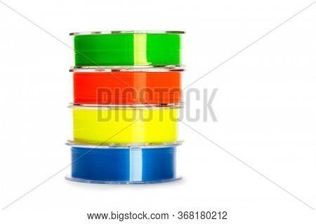 Colored fishing line for fishing isolated on white