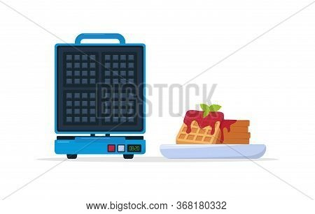 Waffle Maker And Plate Of Belgian Waffles With Jam And Mint