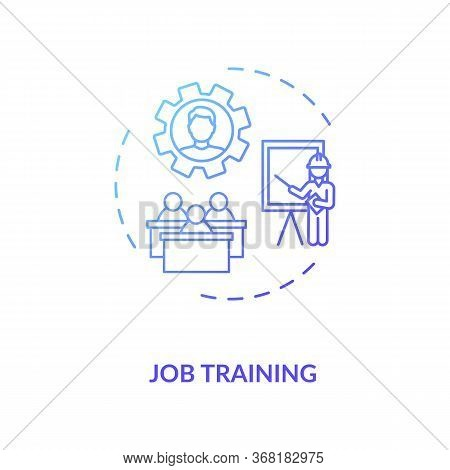 Job Training Concept Icon. Professional Education. Company Employers Mentoring Thin Line Illustratio