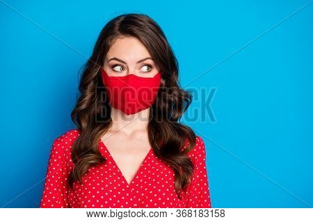 Closeup Photo Of Pretty Curly Lady Closed Half Face Big Eyes Look Side Empty Space Wear Dotted Red B