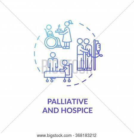 Palliative And Concept Icon. Patient With Chronic Illness Caregiving Service Idea Thin Line Illustra