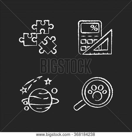 Natural And Formal Sciences Chalk White Icons Set On Black Background. Different Scientific Fields O