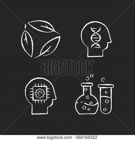 Modern Sciences Chalk White Icons Set On Black Background. Formal And Natural Scientific Disciplines