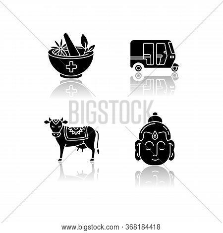 Indian Culture Drop Shadow Black Glyph Icons Set. Ayurveda. Alternative Medicine. Auto Rickshaw. Tuk