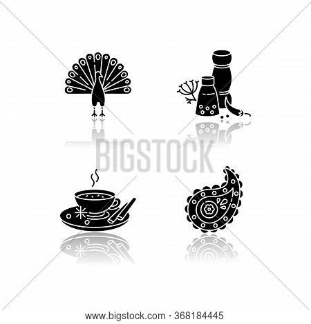 Indian Culture Drop Shadow Black Glyph Icons Set. National Animal. Peacock. Traditional Cuisine. Mas