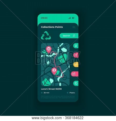 Garbage Collection Points Map Smartphone Interface Vector Template. Waste Disposal Mobile App Page D