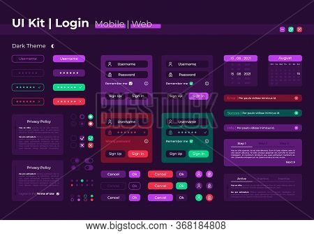 Login Ui Elements Kit. Registration Form. System Authorization Isolated Vector Icon, Bar And Dashboa