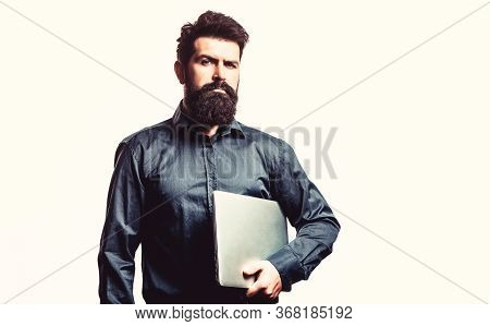 Businessman Using His Laptop, Pc. Holding Laptop Computer. Bearded Male Businessman Holding A Comput