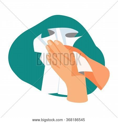 Hands Drying Illustration. Towel, Cleaning, Hands. Hygiene Concept. Illustration Can Be Used For Hea