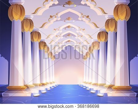 Corridor With Columns And Arches In Palace. Vector Cartoon Interior Of Hallway With White Marble Pil