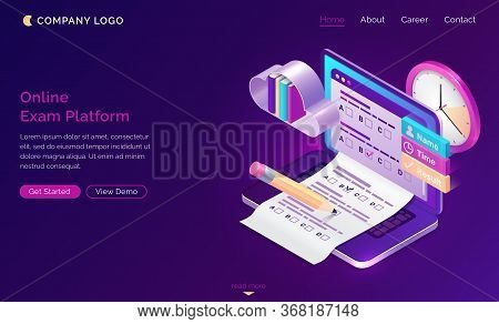 Online Exam Platform Isometric Landing Page. Laptop With Test Or Quiz Questions On Screen. Computer