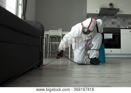 Pest Control. A Worker In A Protective Suit Cleans The Room From Cockroaches With A Spray Gun, The S