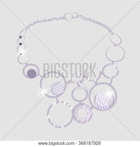 Necklace Illustration. Rings, Collar, Gem, Diamond, Glittering. Jewelry Concept. Illustration Can Be