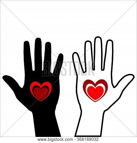 Black Hand With Red Heart Isolated On White Background. Red Heart Placed On The Palm. Vector Hand Dr