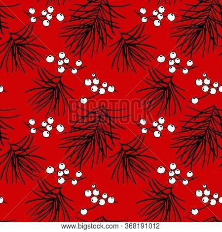 Seamless Pattern In Black And Red Colors With A Branch Of Pine And Berry Mistletoe