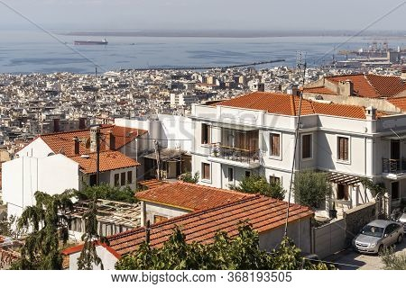 Thessaloniki, Greece - September 22, 2019: Panoramic View City Of Thessaloniki, Central Macedonia, G