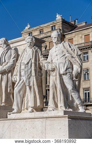 Budapest, Hungary-feb 8, 2020: Statue Of Minister Of Defense Justice Meszarosin And Deak At Kossuth