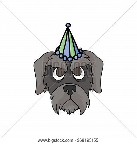 Cute Cartoon Schnauzer Puppy Face With Party Hat Vector Clipart. Pedigree Kennel Doggie Breed. Pureb