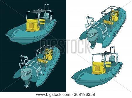 Rigid Inflatable Boat Illustrations