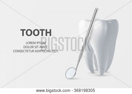 Dental Inspection Banner, Plackard. Vector 3d Realistic Dentist Mirror For Teeth With Tooth Icon Clo