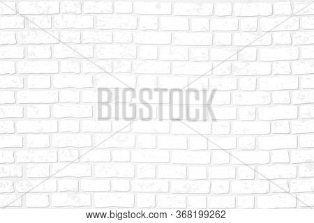 Realistic White Brick Wall Background. Distressed Overlay Texture Of Old Brickwork, Grunge Abstract