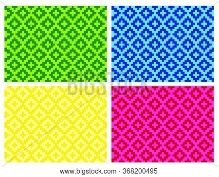 Flat Colorful Beautiful Decorative Ethnic Woven (anyaman) Background Texture 16