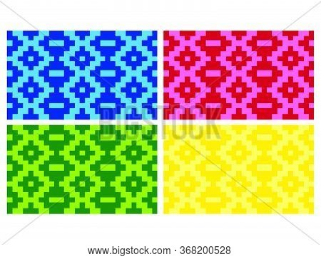Flat Colorful Beautiful Decorative Ethnic Woven (anyaman) Background Texture 19