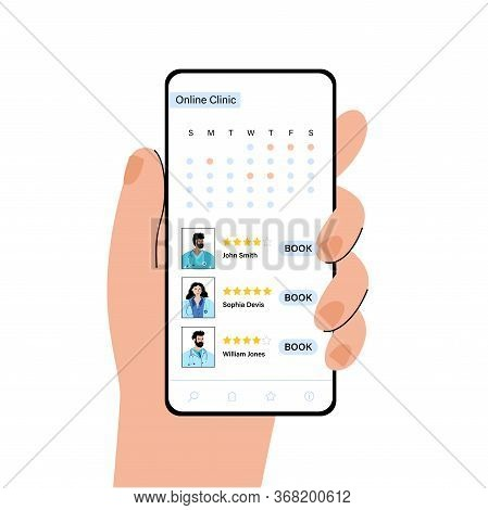 Calendar With Booking And Profiles Of Doctors In Online Clinic. Specialists Are Ready To Help Via Ph