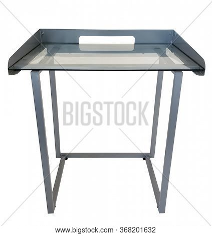 Small metal glass top desk with clipping path