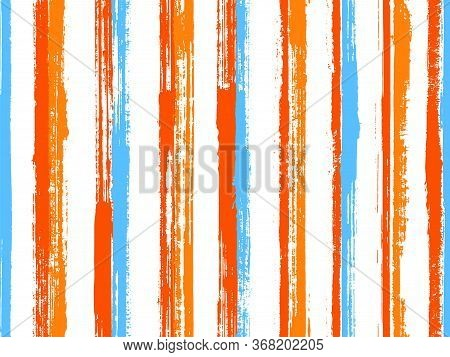 Pain Hand Drawn Parallel Lines Vector Seamless Pattern. Trendy Serape Ethnic Textile Design. Retro T