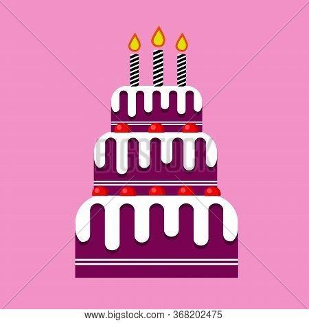 Cake For Wedding. Cake For The Birthday. Raspberry Cake. Flat Disign Cake Dessert