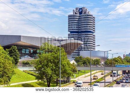 Munich, Germany - Aug 2, 2019: The Bmw World Headquarters Or Bmw Four-cylinder In Munich, Bavaria. I