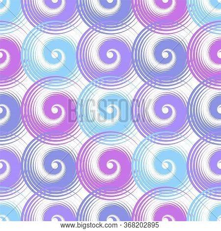 Spiral Swirls Purple Complicated Seamless Pattern Vector Design. Round Spiral Scrolls, Circle Swirls