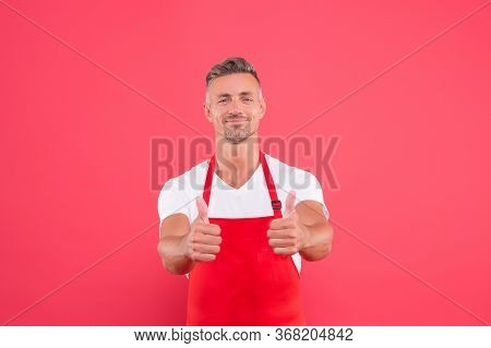 Smiling Chef Man Show Thumb Up. Professional Chef Wanted. Male Chef Cook In Red Apron. Businessman W