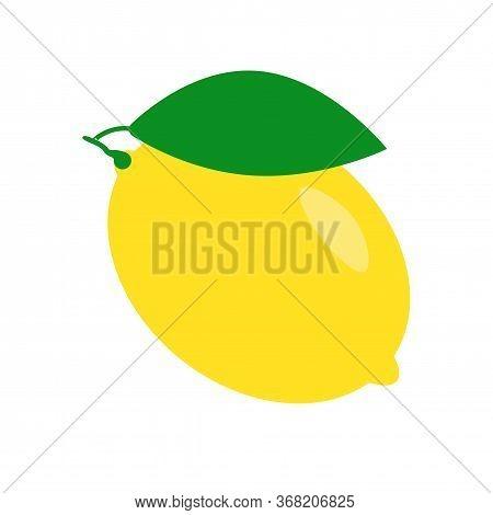 Fresh Lemon Fruit Isolated On A White Background. Lemon Logo Or Badge. Icon Citrus