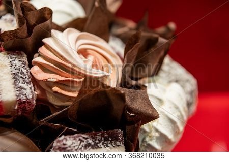 Marshmallows And Chocolate Close-up. Decorative Confectionery Bouquet Of Chocolate, Marshmallows, Ma