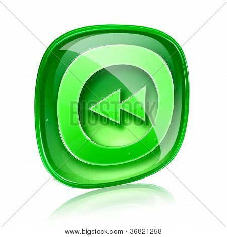 Rewind Icon Green Glass, Isolated On White Background.