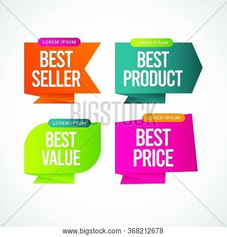 Best Seller, Best Product, Best Value, Best Price Text Label Vector Template Design Illustration