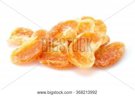 Organic Healthy Assorted, Oranges Dried Fruit Isolated On A White Background. Closeup